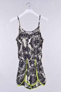 Black white neon romper #swoonboutique Summer Wear, Spring Summer, Swoon Boutique, Boho Hat, Rococo, Boutique Clothing, Passion For Fashion, Dress To Impress, Rompers