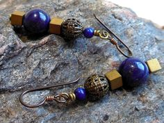 Lapis lazuli earrings, lapis and antique brass earrings, hypoallergenic niobium earrings, made to match lapis lazuli necklace by #EyeCandybyCathy on Etsy