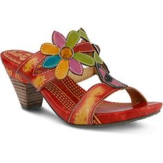 Spring Step L'Artiste Medellin Slide Sandal: This beautifully crafted sandal is hand-painted, and has 2 flower appliques with 2 jeweled accents. This multi colored slide sandal has intricate stitch...