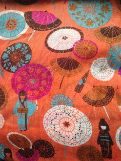 Orange japanese fabric
