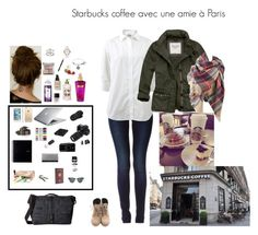 """Starbucks coffee avec une amie à Paris"" by styliste1997 ❤ liked on Polyvore featuring G-Star Raw, Frame, Timbuk2, Abercrombie & Fitch, Eos, Nikon, Kate Spade, Henri Bendel, Again and Laundry"