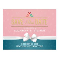 Chic Blue Pink White Ribbon Wedding Save the Date Postcard