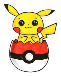 Pikachu in Pokeball Easter Egg Sweet Drawings, Cute Kawaii Drawings, Kawaii Doodles, Cute Animal Drawings, Easy Drawings, Cartoon Kunst, Cartoon Art, Cute Cartoon, Pikachu Pikachu