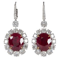 Incredible 20 Carats GRS Cert Rubies Diamond Gold Drop Earrings | From a unique…