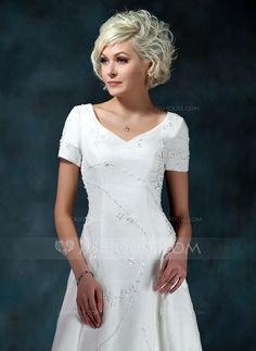 A-Line/Princess V-neck Court Train Organza Satin Wedding Dress With Beading Appliques (002000393) - JJsHouse