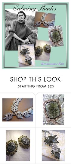 Calming Shades by renaissance-fair on Polyvore featuring Sarah Coventry, cameoearrings, sterlingnecklace, glassbrooch and juliananecklace