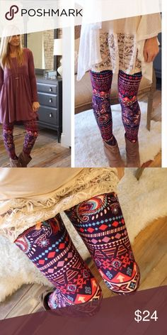 Paisley Feather Print Leggings These super soft brushed beautiful leggings and made of 92% Polyester and 6% Spandex. They are one Size Fits Most. Sizes 2-12 comfortably. These go great with the mauve babydoll Tunic in my closet. Infinity Raine Pants Leggings