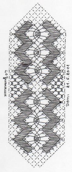 Petit ouvrage de vacances. Un signet, dessiné comme d'habitude par Dominique et aussi dentelé par Dominique.    Si vous r... Crochet Edging Patterns, Bobbin Lace Patterns, Shawl Crochet, Evlis Needle, Tattoo Dentelle, Bobbin Lacemaking, Lace Heart, Lace Jewelry, How To Purl Knit
