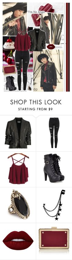 """Ladys And Gentleman,Warrior Is Back"" by karydkaulitz ❤ liked on Polyvore featuring McQ by Alexander McQueen, Topshop, AiSun, GUESS, Lime Crime, Valentino, kpop, bap and himchan"