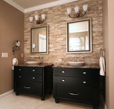 Cabinets for Bathrooms by Walker Woodworking Design ideas and inspiration for custom cabinets, bathroom vanities. Bring any style cabinets to your bathroom.
