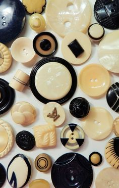 Vintage black and cream celluloid buttons