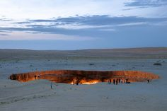 The Door to Hell is a natural gas field in Derweze, Turkmenistan. It is noted for its natural gas fire which has been burning continuously since it was lit by Soviet petrochemical scientists in 1971.