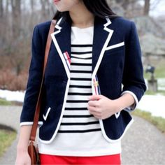 Thom brown blazer target plus nautical stripes and red pants