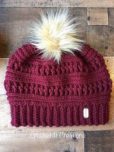 The Ana Beanie is a FREE crochet pattern posted on crochetitcreations.com. Comes in adult and child sizes. This trendy beanie is perfect in any color, completed with a faux fur Pom Pom in top. #CrochetBeanie