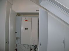 build in boiler Attic Storage, Boiler, Laundry Room, Mirror, Interior Ideas, Building, Room Ideas, Furniture, Home Decor