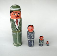 Vintage de nidification Happy Family Wooden Hand-Painted poupées, poupées, poupées de collection, quatre Nesting Dolls, Dolls empilage, bois poupées