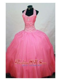 2013 New Arrival Ball Gown Halter Top Watermelon Beading Little Girl Pageant Dresses- $137.87  http://www.fashionos.com  http://www.facebook.com/quinceaneradress.fashionos.us  Featured by a lovely halter-top neckline and fully beaded shoulder straps, the bodice will flatter most figures with a diagonal lined beading all over the waist. The full length skirt with sparsely scattered beadwork finishes the look.