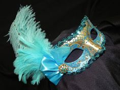 Turquoise Masquerade Masks with Feathers | Masquerade Mask in Shades of Turquoise Aqua by TheCraftyChemist07
