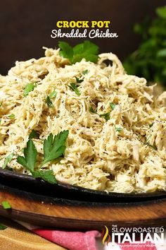 Crockpot shredded chicken is the perfect make ahead recipe. It will give you tons of possibilities and its prepared in the slow cooked with very little work. This recipe makes a quick dinners so amazingly easy.