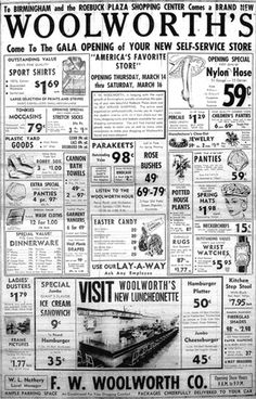 Vintage newspaper ad for Woolworth's ... look at that, you could buy a pet Parekeet for 98 cents :)