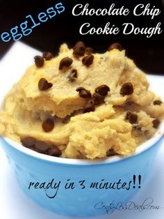 3 Minute Eggless Chocolate Chip Cookie Dough recipe I know my son would love this, he's always loved raw cookie dough and I wouldn't let him eat it. Cookie Dough Recipes, Edible Cookie Dough, Chocolate Chip Cookie Dough, Baking Recipes, Eggless Recipes, Just Desserts, Delicious Desserts, Dessert Recipes, Yummy Food