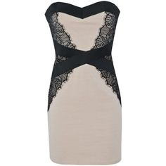Little Mistress Libby Lace Bandeau Dress ($28) ❤ liked on Polyvore featuring dresses, vestidos, short dresses, lace cocktail dress, nude lace dress, panel dress, lacy dress and bandage mini dress