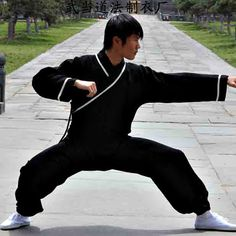 Black Hemp and Linen Wudang Kung Fu Uniform with White Outerlines, Cuffs for Men and Women by Asia-Sale Best Tai Chi, Kung Fu Clothing & Equipment Shop Kung Fu Clothing, Martial Arts Clothing, Kung Fu Uniform, Tai Chi Qigong, Men And Women, Mens Fashion, My Style, Ninja Weapons, Wing Chun
