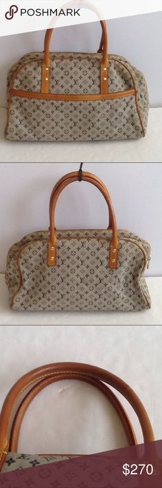 Authentic Louis Vuitton Mary Blue Monogram Satchel Canvas had done light stains. Straps had some scratches. The date code CA 0090 and the bag was made in Spain. The dimension is 8.5, 15 and 6. The color is gray and blue. Louis Vuitton Bags Satchels