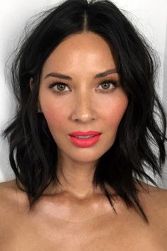 Olivia Munn: Bright MatchingTa's been doing this look on Munn for a while — and each version is just as pretty as the last. This coral color is one of our top picks, thanks to its cheery hue and universally flattering undertones.  #refinery29 http://www.refinery29.com/2016/12/133551/la-celebrity-trend-matching-blush-lip-color-photos#slide-1