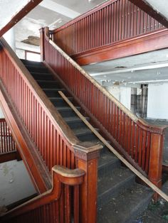 The floor offers a beautiful open floor plan with this original oak staircase leading to the Mezzanine Balcony. Bellefontaine Ohio, Open Floor, Balcony, Random Stuff, Floor Plans, Stairs, Flooring, The Originals, Building