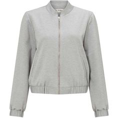 Miss Selfridge Grey Ponte Bomber Jacket ($68) ❤ liked on Polyvore featuring outerwear, jackets, mid grey, gray bomber jacket, miss selfridge, bomber jacket, ponte knit jacket and bomber style jacket