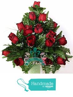 XL Beautiful Classic Red Roses Cemetery Flowers for a 3 Inch Vase from Crazyboutdeco Deco Mesh Wreaths,Cemetery Arrangements https://www.amazon.com/dp/B01N0T9TDE/ref=hnd_sw_r_pi_dp_N5vazb4B9MPY3 #handmadeatamazon