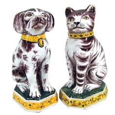 Dutch Tin-glazed Earthenware Models of a Dog & Cat