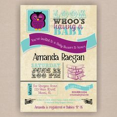 Purple owl invitation - Baby Shower