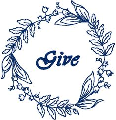 Redwork Machine Embroidery Designs: Insprirational Wreaths: Give