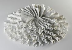 'Speere' (2006) by German artist & ceramic sculptor Susanne Meissner. Porcelain, 45 x 40 x 15 cm. via the artist's site
