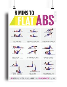 "No equipment? No problem this ""8 minute Abs + core workout"" is all you need to strengthen and tone your core muscles. This easy abs exercises poster is presented in a clear and concise manner. Each exercise has easy to follow step-by-step from start to finish outlining the correct form for each of the 9 exercises. (fix this sentence) So, get ready to say bye-bye to your muffin top that hangs over the top of the jeans. In this quick abs routine, you'll crunch, plank, twist and side-bend—hi..."