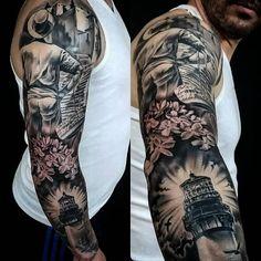 Este es uno de nuestros favoritos, brazo diseño de Javi Metetintas inspirado en la ciudad de Málaga, con mucho cariño para nuestro amigo Fran. Da gusto diseñar tatuajes inspirados en nuestra ciudad, orgullosos de Málaga, y de los tatuajes en Málaga en www.altaescuelatattoo.com