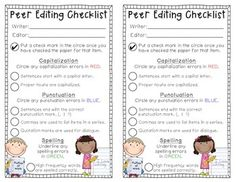 Peer Editing Checklist FREEBIE! Cute to edit for the rainbow peer edit anchor chart