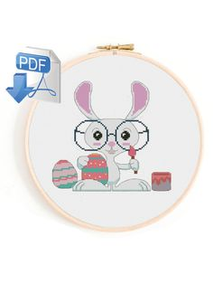 Easter cross stitch pattern, Spring Cross Stitch, bunny cross stitch, animal cross stitch, Funny Cross Stitch Patterns, digital, pdf Funny Easter Bunny, Funny Cross Stitch Patterns, Easter Cross, Simple Cross Stitch, Pdf, Holidays, Embroidery, Group, Animal
