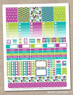 Purple Green & Blue Printable Planner Stickers PDF Instant Download Weekly Graphics Kit