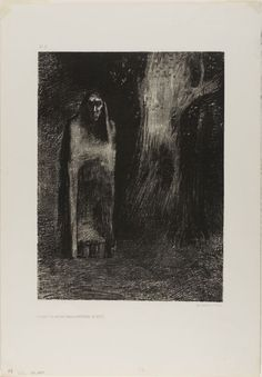 Odilon Redon - The Man was Alone in a Night Landscape, from Night, 1886, Lithograph | The Art Institute of Chicago