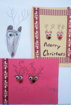 DIY easy rudolph Christmas cards for kids