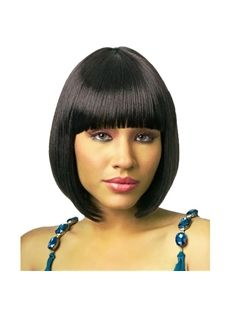 Simple Short Straight Black Full Bang African American Wigs for Women 10 Inch