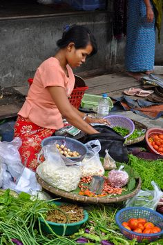 Selling Vegetables, Mandalay, Myanmar