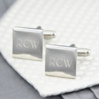 Get your groomsman something they can use when they look their best. Engraved Silver Square Cufflinks with Initials