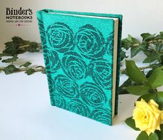 Woven baby sling covered notebook with Roses Reuben cover, plain pages, Small Journal, Baby Wrap Carrier, Baby Sling, Pocket Notebook, Woven Wrap, Bookbinding, Woven Fabric, Binder, Green Colors