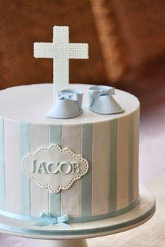 Christening cake. Fittibg atripes and label inspiration