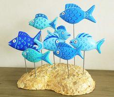 blue fish by Janneke Neele – Ocean Trash Art – Art To Save The Sea Paper Mache Sculpture, Sculptures, Sculpture Art, Clay Crafts For Kids, Clay Fish, Hips And Curves, Trash Art, Paper Mache Crafts, Clay Art