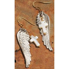 Angel Wing and Cross Earring  Great Savings Today! Extra 15% off Already Reduced Items!  Promo Code:  1DSJ178F  http://www.femailcreations.com/a/Sale  #UniqueGifts #GiftsForWomen #Gifts #GiftsForAllOccassion #InspirationalGifts